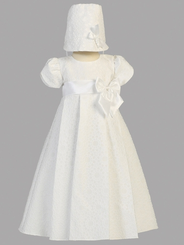 Girls Christening Floral Jacquard Dress w/ Bow