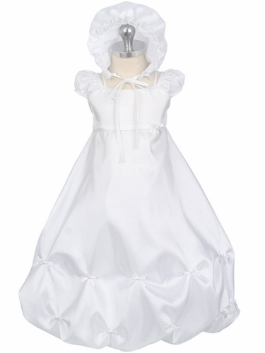 Girls Christening Gathered Taffeta w/ Bow Trim Gown