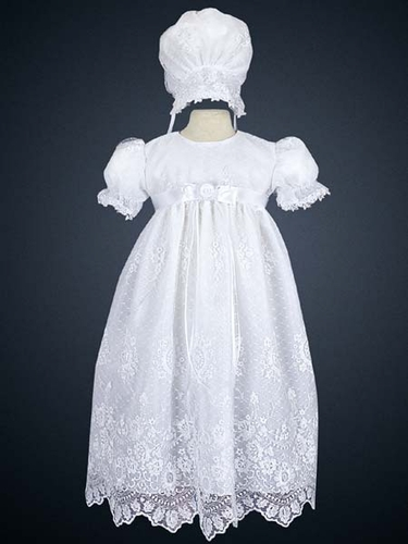 Girls Christening 2 Piece Tuile Gown