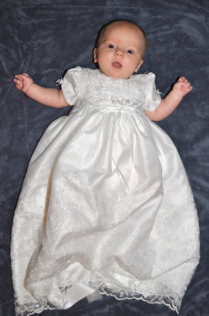 Girls Christening Gown W Beadwork