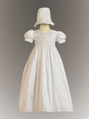 Girls Christening Laced Bodice Silk Gown