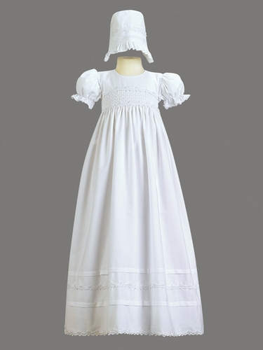 Girls Christening Smocked Bodice Cotton Christening Gown