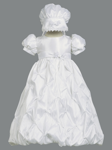 Girls Christening Taffeta Bodice w/ Gathered Taffeta Skirt