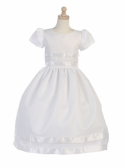 Girls Communion Organza w/ Satin Ribbon & Lace Trim Dress