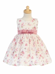 Girls Cotton Floral Print Dress w/ Dusty Rose Sash & Bow