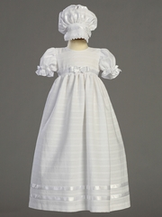 Girls Embroidered Cotton Christening Dress