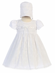 Girls' Embroidered Cotton Christening Gown