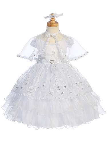 Girls Embroidered & Crystal Dress w/ Organza Overlay & Cape
