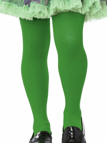 Girls Green Opaque Tights