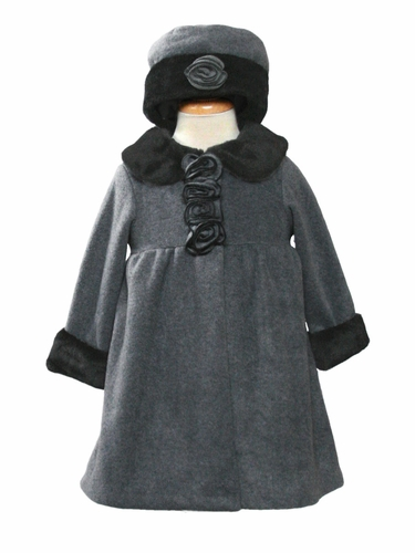 Girls Grey Rose Scroll Fleece Coat