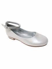 Girls Ivory Flat Shoes w/ Rhinestone Ankle Strap