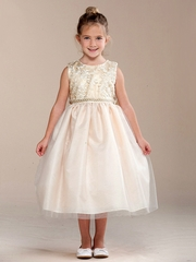 Girls Ivory Embroidered Glitter Dress w/ Pearl Waistband