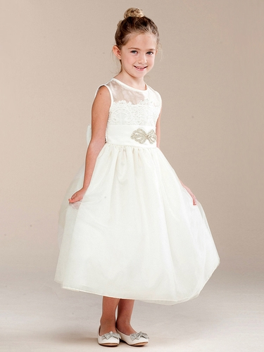 Girls Ivory Vintage Lace & Brooch Dress