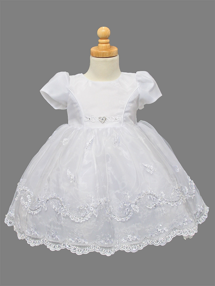 Girls Organza Christening Dress w/ Embroidered & Pearl ...