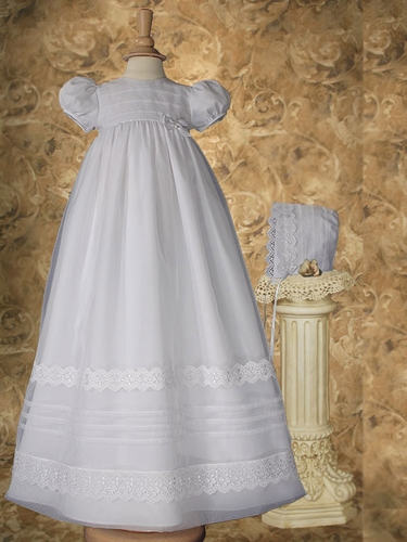Girls Organza Christening Gown w/ Lace & Pin Tucking