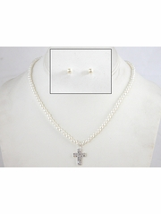 Girls Pearl Cross Necklace & Earring Set