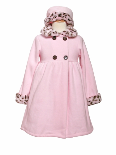 Girls Pink Fleece Coat with Animal Print