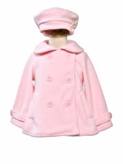 Girls Pink Fleece Peacoat
