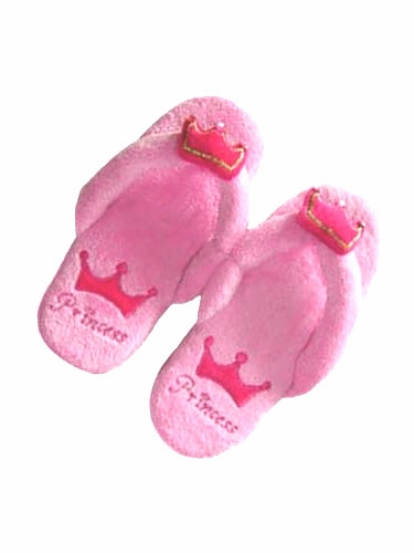 Girls Pink Flip Flop Princess Slippers