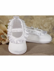 Girls Satin Shoe w/ Pleated Ribbon
