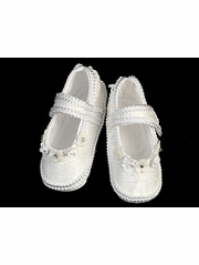 Girls Silk Christening Booties