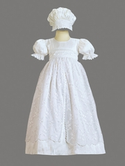 Girls Silk Christening Gown w/ Embroidered Tulle