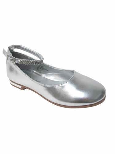 Girls Silver Flat Shoes w/ Rhinestone Ankle Strap