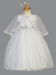 Girls White Christening Shimmering Tulle Dress w/ Cape & Headband