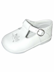 Girls White Cross Embroidered T-Strap Shoes