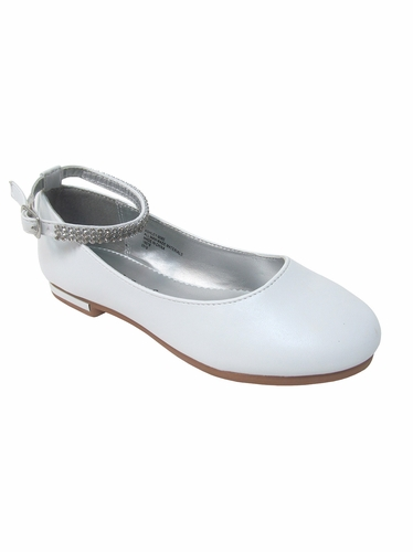 Girls White Flat Shoes w/ Rhinestone Ankle Strap