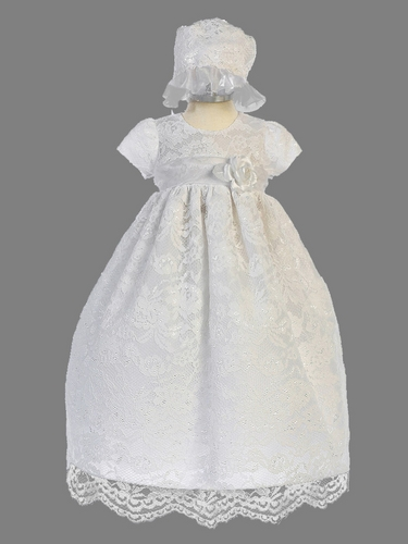 Girls White Lace Floral Long Christening Gown w/ Bonnet