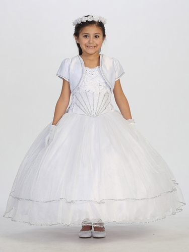 Glitter Tulle Skirt Communion Dress
