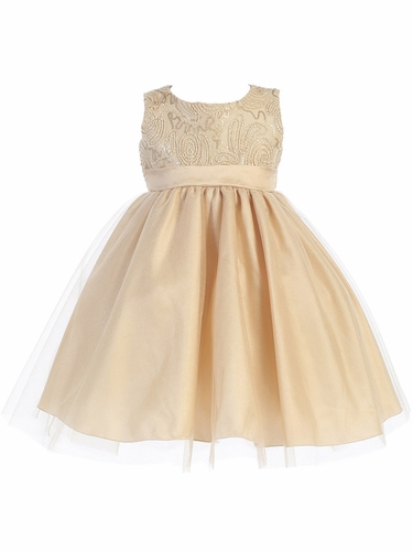 Gold Corded Tulle Bodice w/ Shiny Tulle Skirt