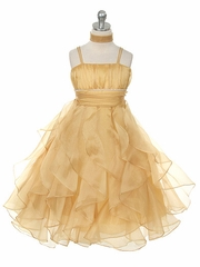 Gold Crystal Pleated Multi-Layered Petal Dress
