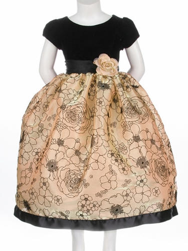 Gold Flower Girl Dress - Black Velvet Top w/ Flocked Organza Skirt