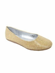 Gold Glitter Flat Shoes