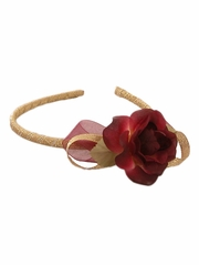 Gold Headband w/ Burgundy Rose