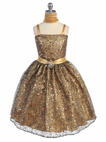 Gold Multiple Sequined Dress
