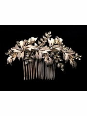 Gold Rhinestone Leaf Hair Comb
