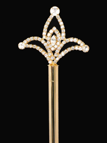 "Gold Rhinestone Scepter 16"" Long"