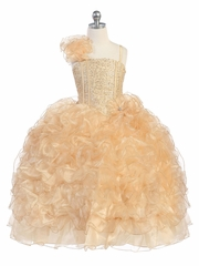 Gold Ruffle Dress w/ Sparkle Bodice