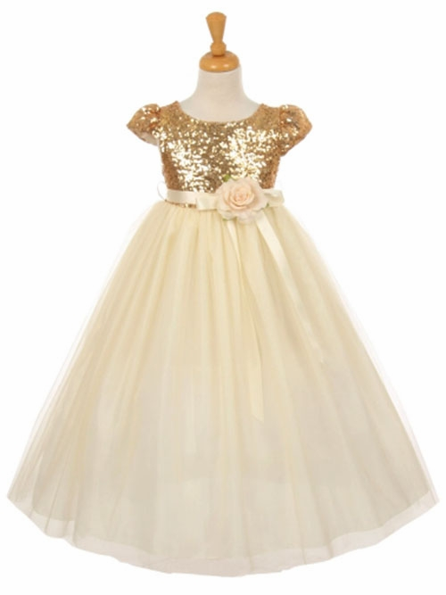 Champagne &amp Gold Flower Girl Dresses - PinkPrincess.com