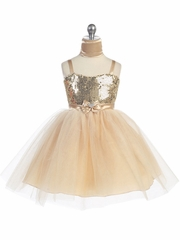 Gold Sweet Heart Sequin Bodice w/ Crystal Tulle Skirt