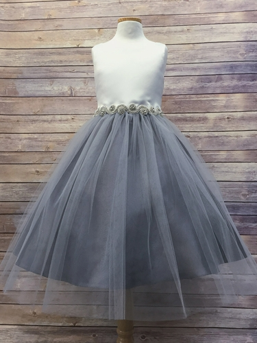 Gray/Off-White Satin & Tulle Dress w/ Gem Belt