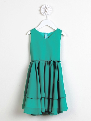 Green Chiffon Double Layered Dress