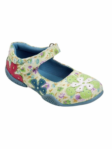 Green Floral Embroidered Shoes