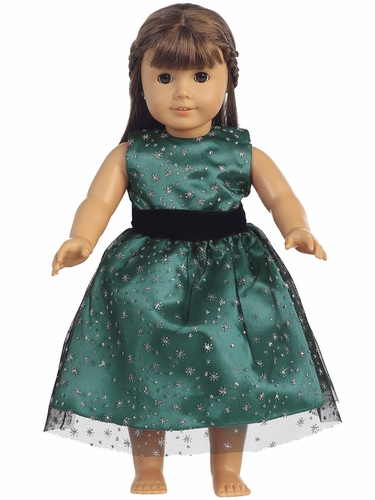 "Green Glitter Tulle 18"" Doll Dress"