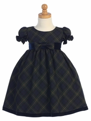 Green Plaid Baby Dress w/ Velvet Trim