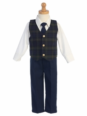 Green Plaid Vest w/ Navy Pants