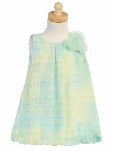 Green Tie Die Ruffled Tulle Baby Doll Dress